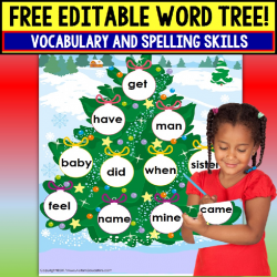 FREE Special Education and Autism Resource EDITABLE Vocabulary Christmas Tree
