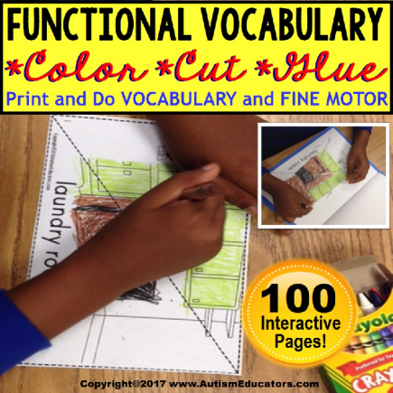 FUNCTIONAL VOCABULARY Color Cut and Glue FINE MOTOR Worksheets