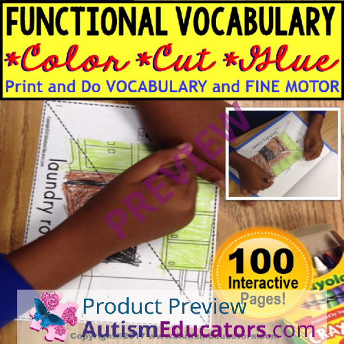 Where Vocabulary Of Autism Is Failing >> Functional Vocabulary Color Cut And Glue Fine Motor Worksheets