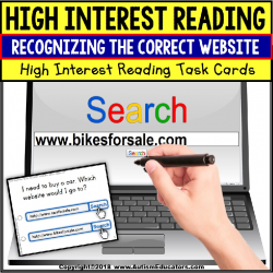 "Task Cards HIGH INTEREST READING Website Internet Search ""Task Box Filler"""