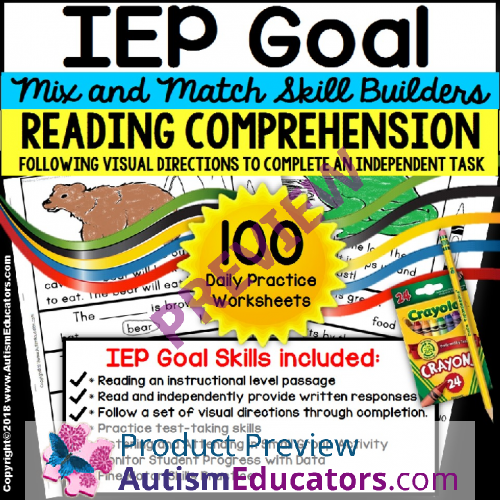 Reading Comprehension Iep Skill Builder Following Visual Directions
