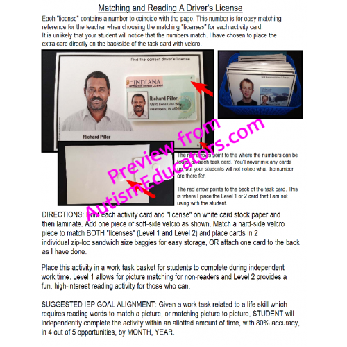 Functional Matching Task Drivers License Life Reading Skills Work And