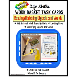LIFE SKILLS Work Task Basket PACKING SLIP Functional Reading/ Matching/Autism