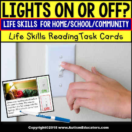 LIFE SKILLS TASK CARDS Lights On or Off Task Box Filler