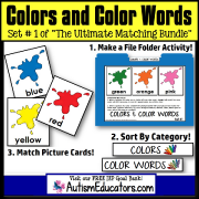 File Folder Activities For Special Education MATCHING COLORS and COLOR WORDS Set 1