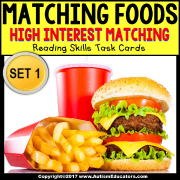 "HIGH INTEREST Reading and Matching FAST FOOD Task Cards ""TASK BOX FILLER"" for Special Education"