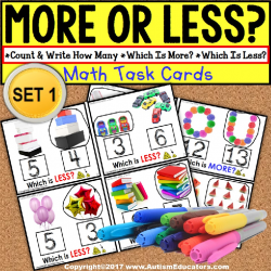 "MORE or LESS (Greater/Less Than) Task Cards ""TASK BOX FILLER"" for Autism"