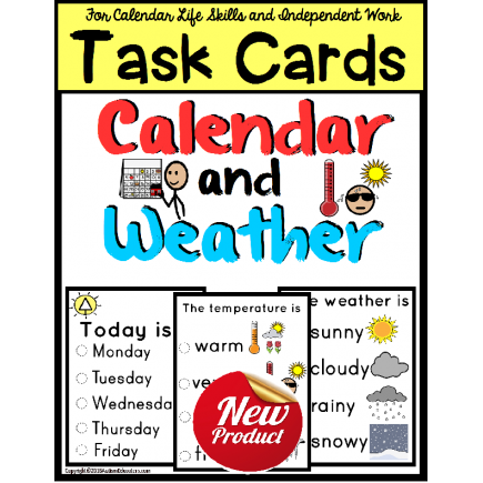 Morning CALENDAR and WEATHER TASK CARDS for Life Skills with Visuals for Autism