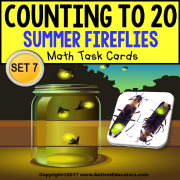 "One To One Correspondence To 20 TASK CARDS Summer Fireflies ""TASK BOX FILLER"""