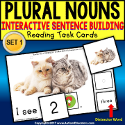 "PLURAL NOUNS IN SENTENCES Task Cards ""Task Box Filler"" for Autism"