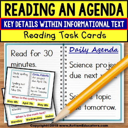 READING AN AGENDA Informational Text TASK CARDS For Autism TASK BOX FILLER