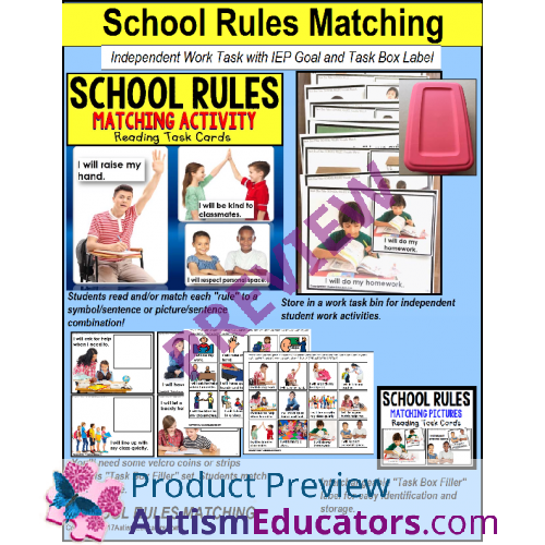 School Rules Reading Task Cards Matching Task Box Filler For Autism And Ell