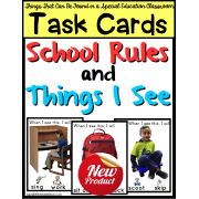 TASK CARDS School Rules and Things I See in a Special Education Classroom