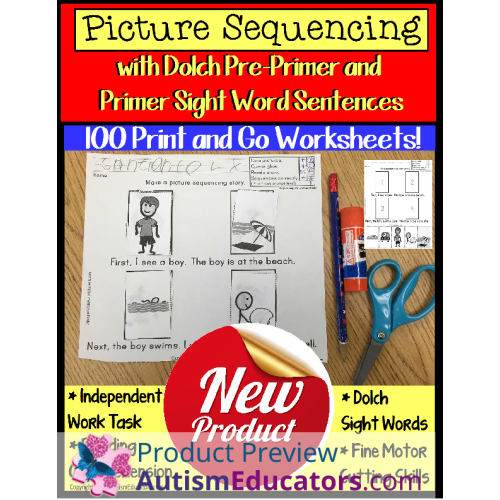 Sight Words Worksheets Sentences With Picture Sequencing And Data
