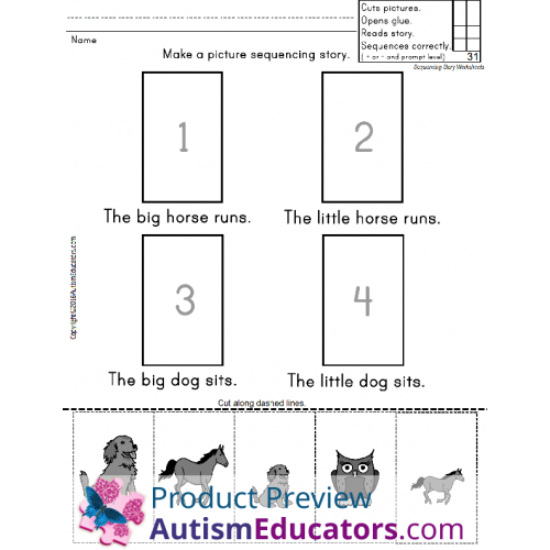 Sight Words Worksheets Sentences with Picture Sequencing and Data ...
