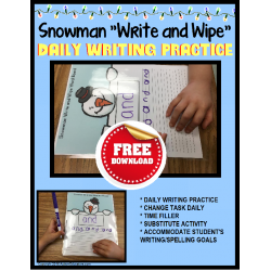 FREE Fine Motor WRITE and WIPE Snowman COPY FROM A MODEL IEP Goal