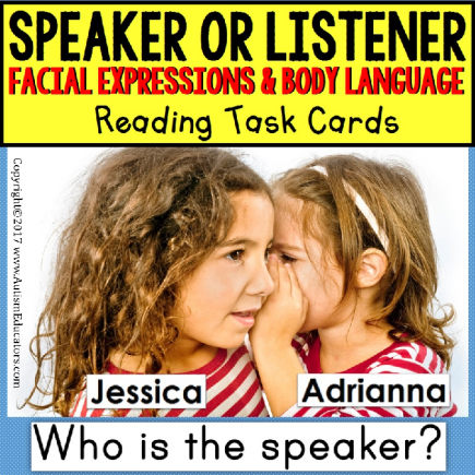 SPEAKER OR LISTENER Task Cards INTERPRETING BODY LANGUAGE Task Box Filler