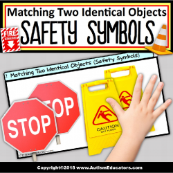 Safety Signs and Symbols MATCHING TWO IDENTICAL OBJECTS Teaching Task Cards