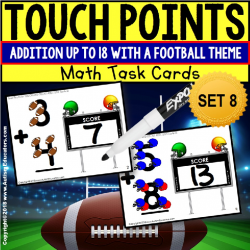 TOUCH POINT Task Cards Football Addition To 18 TASK BOX FILLER for Special Education