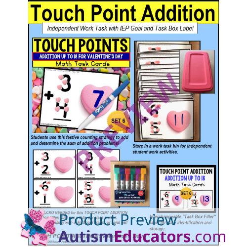 Touch Point Addition To 18 Task Cards Valentine S Day Theme Task Box