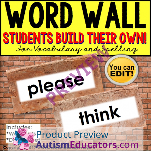 Where Vocabulary Of Autism Is Failing >> Word Wall Interactive Vocabulary Books Editable