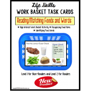 Life Skills Work Basket Task - Reading and Matching Functional Food Words