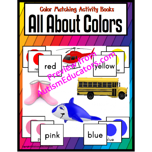 COLORS Matching and Color Words Adapted Books
