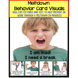 Autism Social Skills - Behavior Card Visuals Self-Talk To Help with a Meltdown