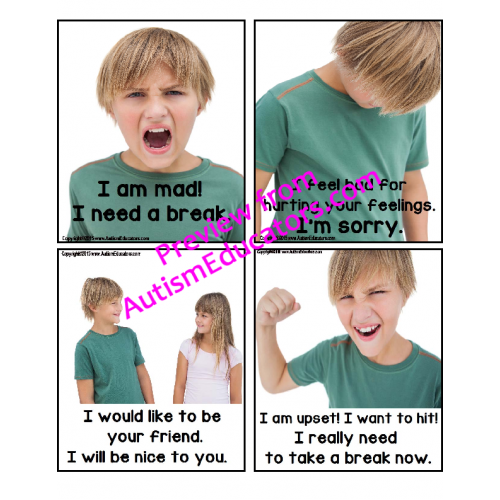 image about Picture Cards for Autism Printable identified as Autism Social Abilities - Practices Card Illustrations or photos Self-Communicate In direction of Assistance with a Meltdown