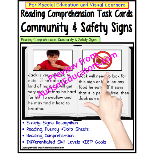 Community Safety Volunteer Academy: Reading Comprehension LARGE Task Cards COMMUNITY & SAFETY
