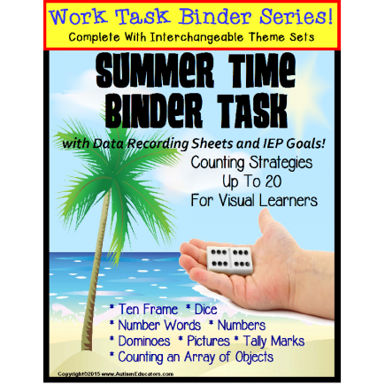 Autism Work Task Binder with Data: Counting to 20 SUMMER THEME Special Education