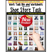 Life Skills Special Education Work Task Bin SHOE STORE with Data