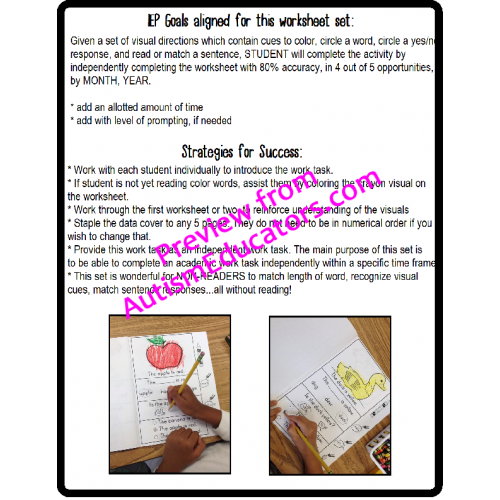 FOLLOWING VISUAL DIRECTIONS Print and Go Worksheets LEARN TO READ – Learn to Read Worksheets