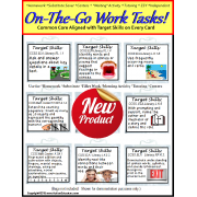 Autism ON THE GO Work Task Cards with Target Skills and CCSS Aligned (SET 1)