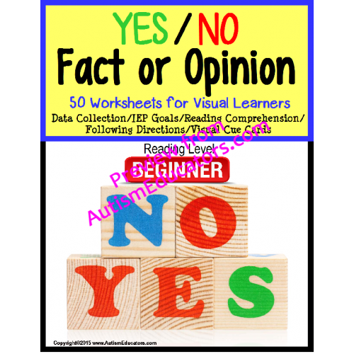 Autism Yesno Fact Or Opinion Worksheet Set With Data
