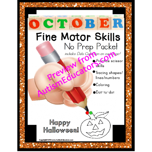 Fine Motor Skills No Prep Packet For October Special