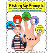Autism PACKING UP PROMPTS ROUTINE with Social Story/Data Sheet/IEP Goal