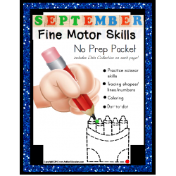 Fine Motor Skills NO PREP Worksheet Packet for SEPTEMBER