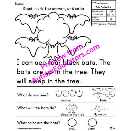 worksheets for for Sentences with  comprehension BEGINNERS Sight Word IEP Goal word Data sight and Special