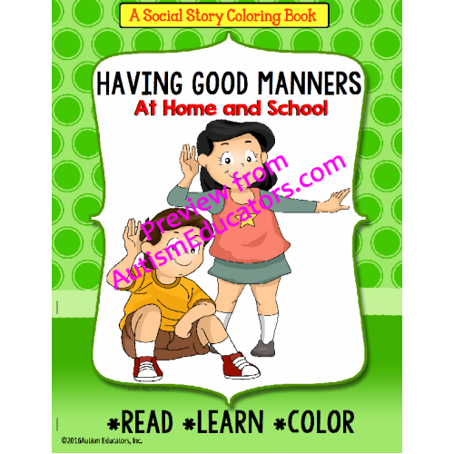 Social Story Coloring Book Series MANNERS with FREE Worksheets for ...