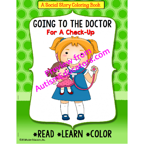 Social Story Coloring Book Series GOING TO THE DOCTOR Girl Version