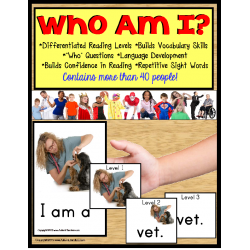 "Autism and Special Education Reading Strategies Identifying ""WHO"" with Data/IEP Goals/Vocabulary Cards"
