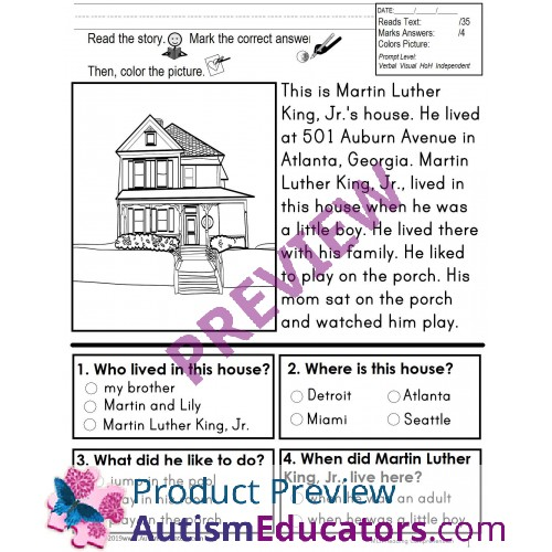 Martin Luther King, Jr. READING COMPREHENSION IEP Skill Builder NON-FICTION  WORKSHEETS For Autism And Special