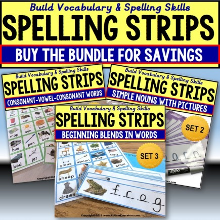 Vocabulary Spelling Strips BUNDLE Autism and Special Education Resource