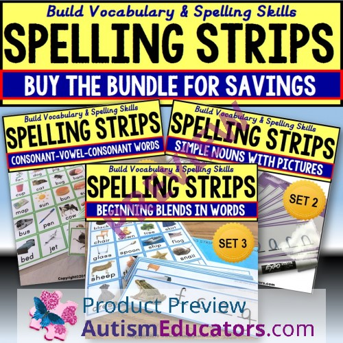 Where Vocabulary Of Autism Is Failing >> Vocabulary Spelling Strips Bundle Autism And Special Education