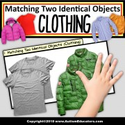 MATCHING TWO IDENTICAL OBJECTS Teaching Task Cards (Clothing) for Autism