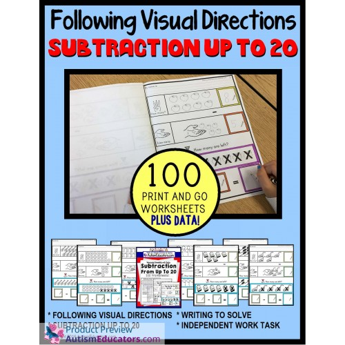 Subtraction Worksheets From 20 Following Visual Directions For. Subtraction Worksheets From 20 Following Visual Directions For Autism And Special Needs. Worksheet. Worksheets For Special Needs At Clickcart.co