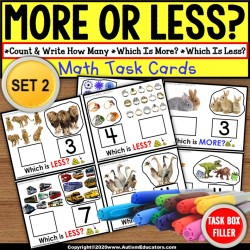 "MORE or LESS (Greater/Less Than) Task Cards ""TASK BOX FILLER"" for Autism SET 2"