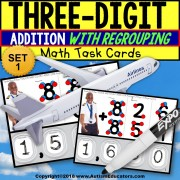 TOUCH POINT Three Digit Addition WITH REGROUPING TASK CARDS Task Box Filler AIRPLANE THEME