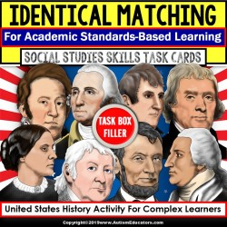 "MATCHING IDENTICAL PICTURES Historical Figures Task Cards ""Task Box Filler"""